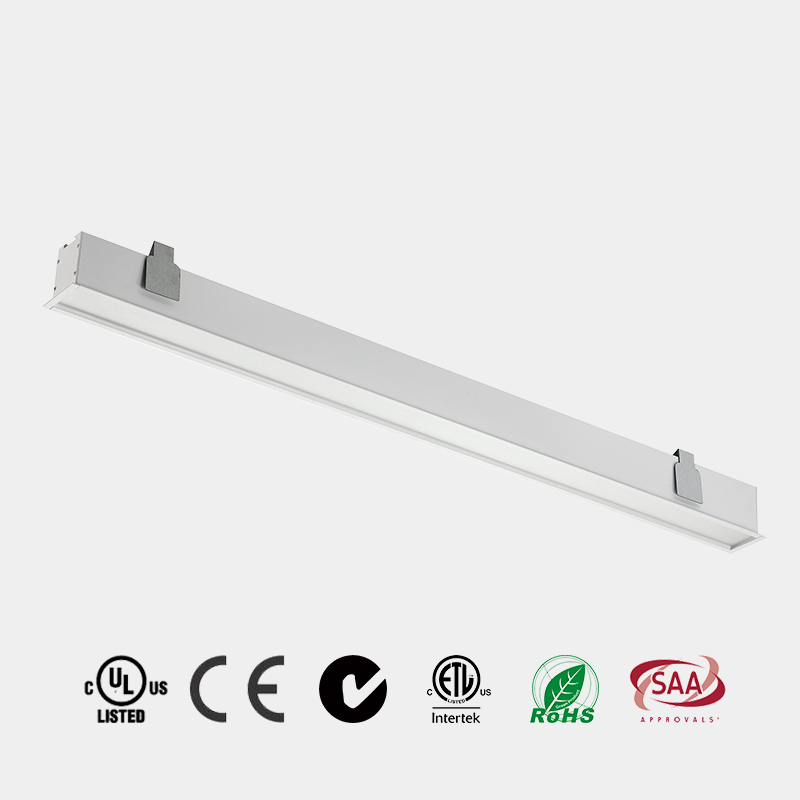 Recessed LED Linear Light PC milky diffuser aluminum housing CE ETL 110 LM/W China HG-L242R