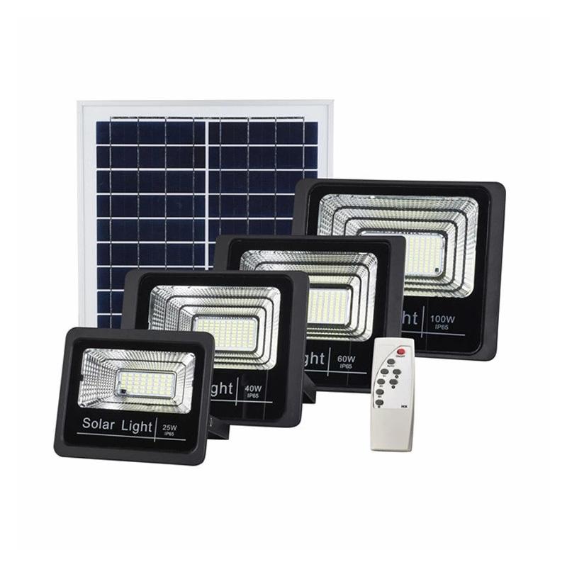 IP67 25W 45W  65W 100W 120W 200W remote Control+Light Sensor+timer solar LED flood light
