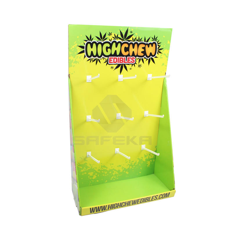 Corrugated Cardboard peg hook counter display for candy