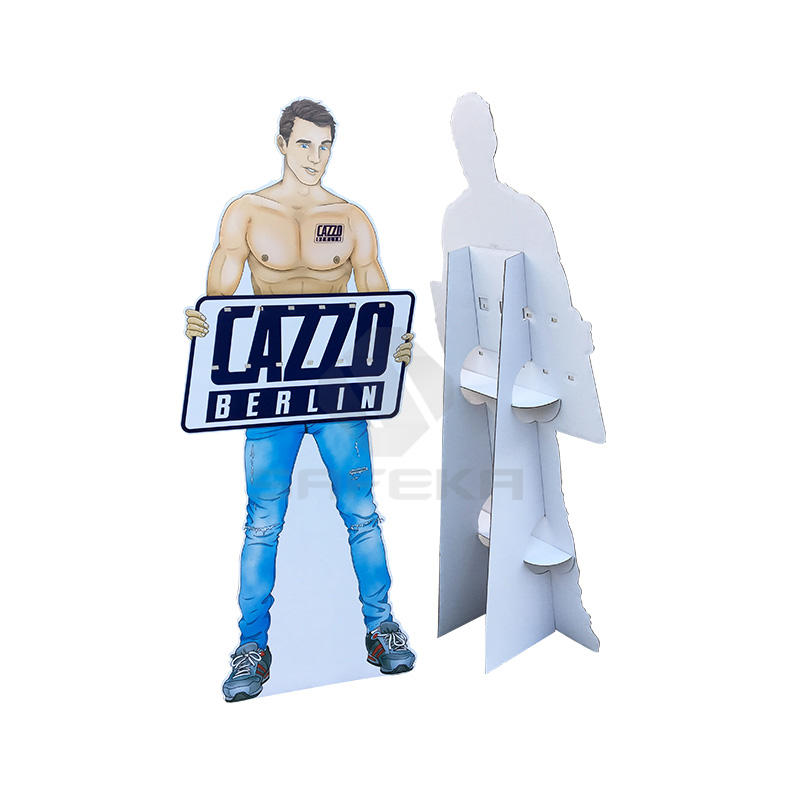 Full Printing Corrugated material  Customized floor Display standee Cardboard cutout with pegs hooks for condoms