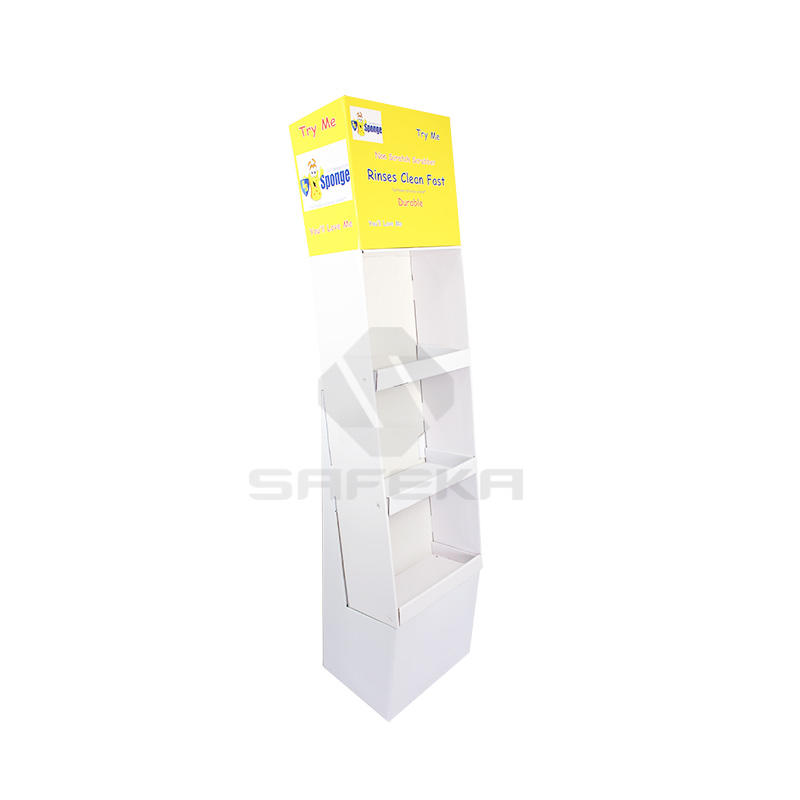 3 Shelves Carton Cardboard Printed Stand Shipper Display  for  Daily necessities