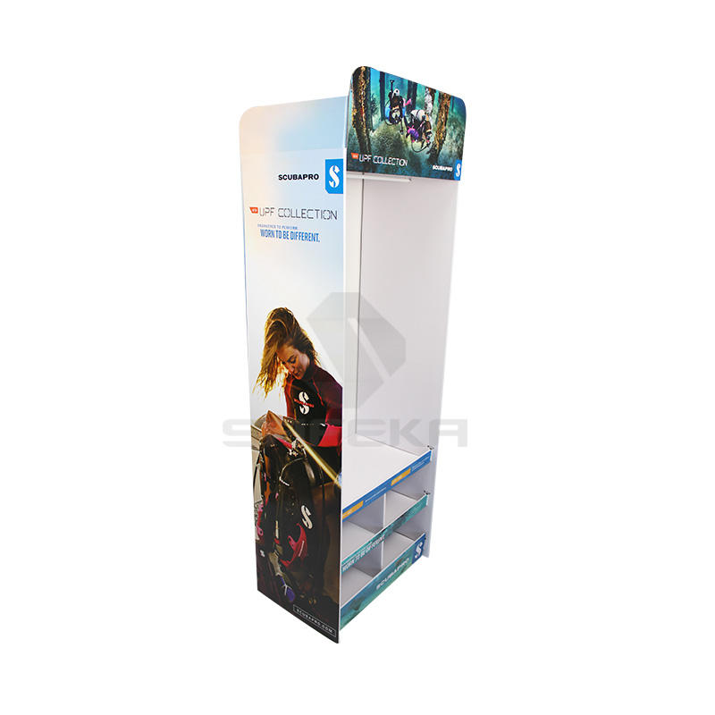 Creative Free standing cardboard floor display for diving suit