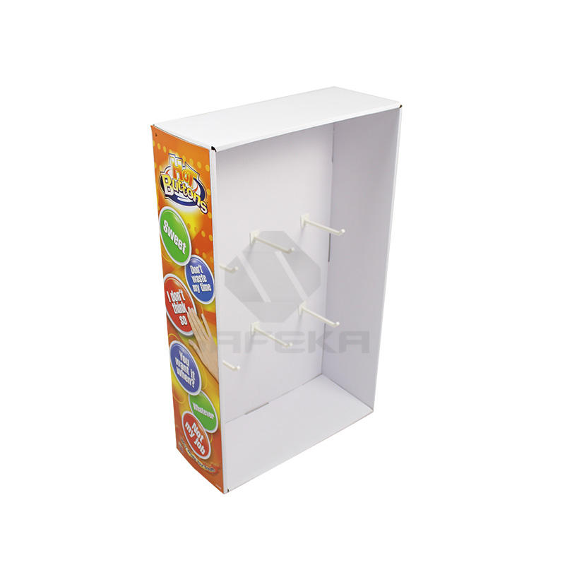 Paper Custom Size Power Wing Display with peg hooks for Toys