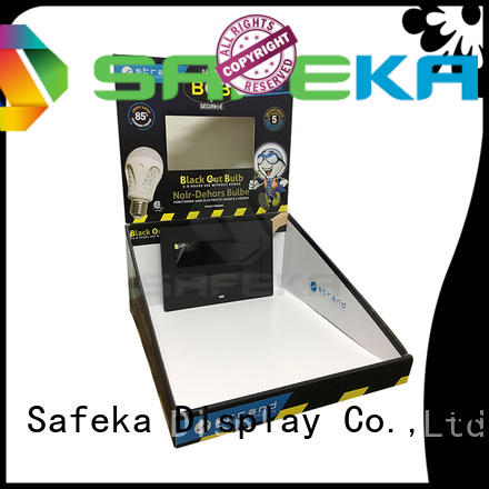 CDU Type Paper Corrugated Counter Display with Video Player LCD for LED lights