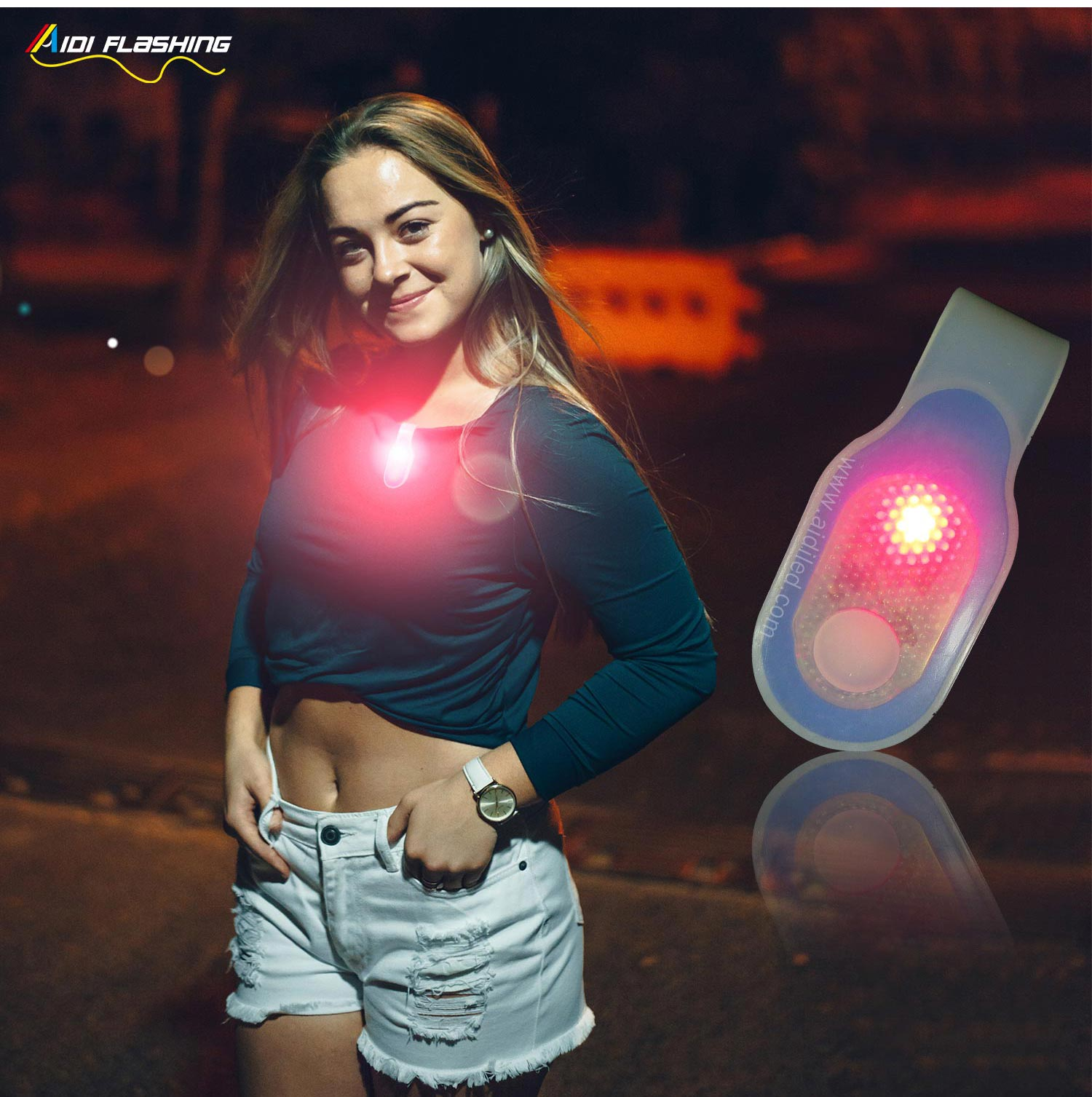 waterproof USB rechargeable LED magnet clip safety lights for runners AIDI-S5