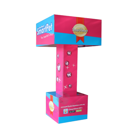 Customized POP Totem Stand Cardboard Advertising Pavilion Booth Display for Pet Treat Products SF1119