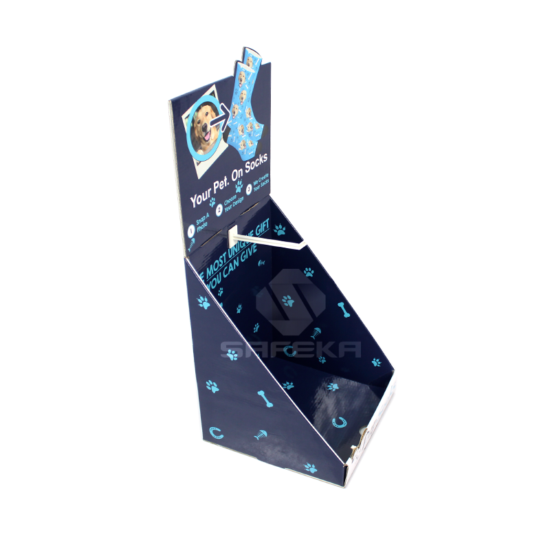 Point of Sale Corrugated Cardboard Hook Display for Socks SC1134