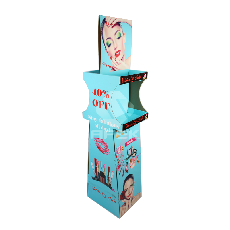 2 Side Printing Cardboard Floor Display Stands for Cosmetics SF1145