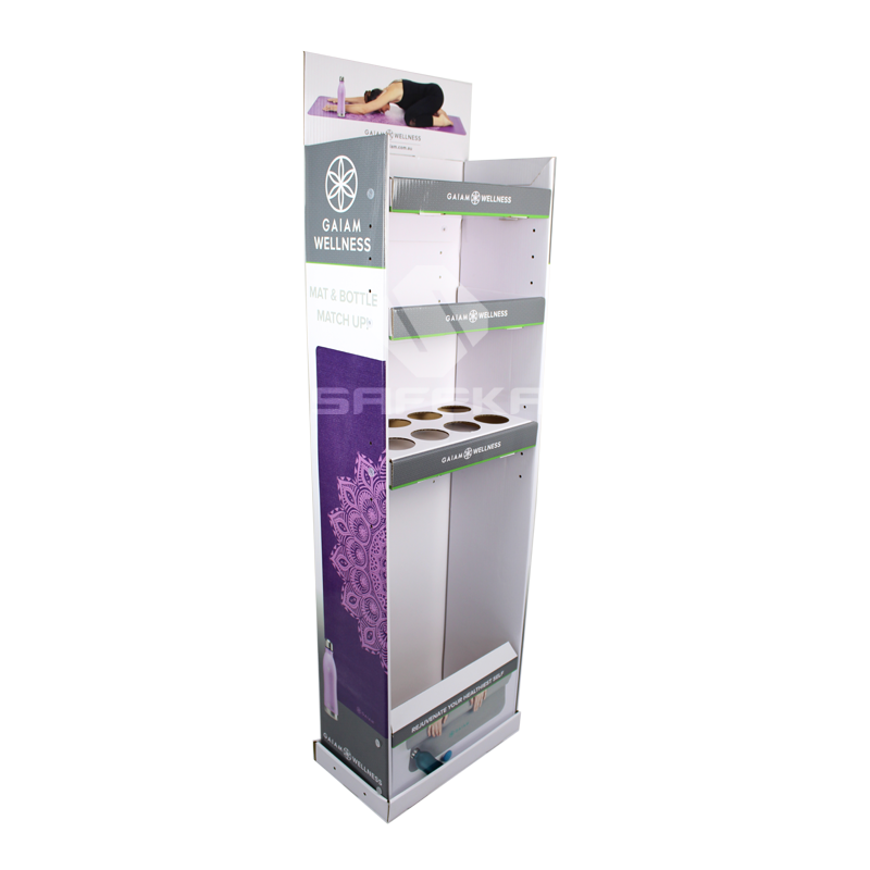 Merchandise Custom Cardboard Advertising Stands POS Display Design  for Yoga Mat and Bottles SF1148