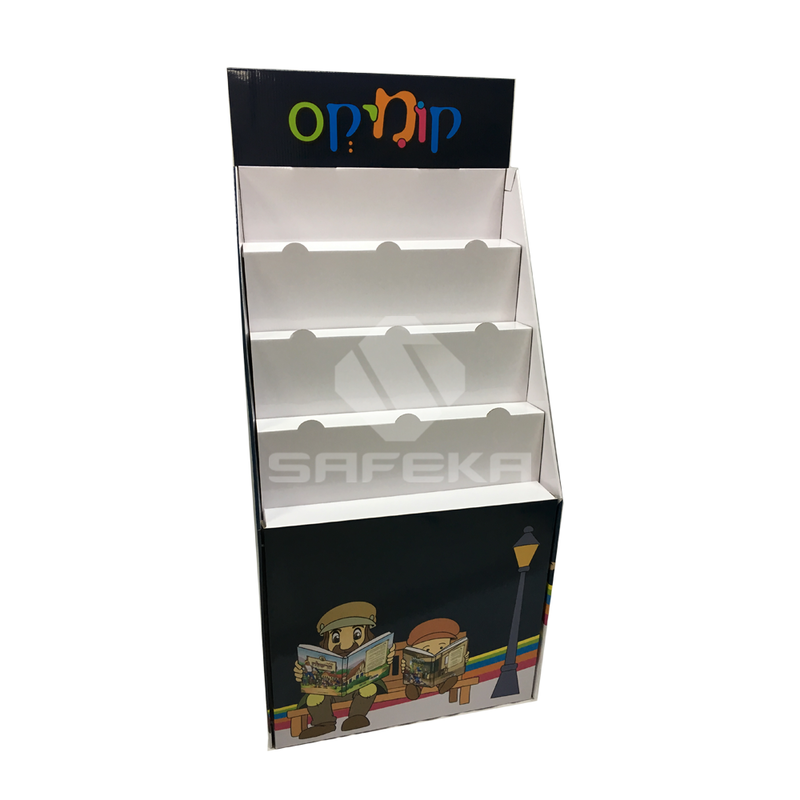 Innovative 4 Tier Cardboard Book Display Stand for Supermarket SF1160
