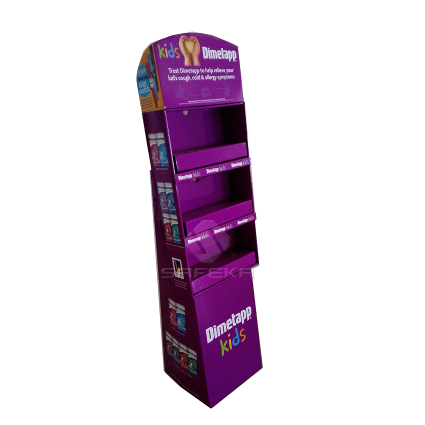 Corrugated Pos Display Stands with Shelf for Pharmacy SF1165