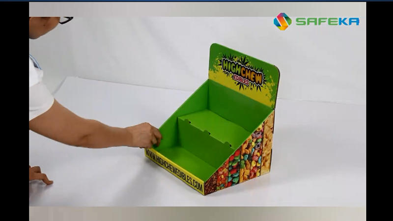 Cardboard 2 Tiers Counter Display stand for candy
