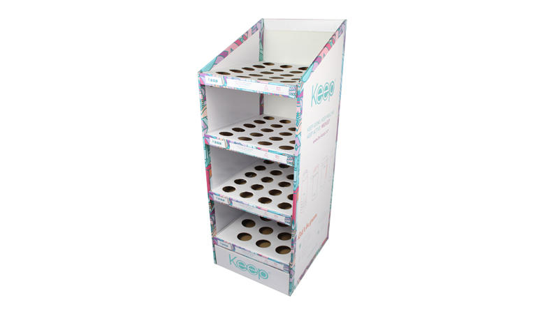 4 Tier Cardboard Bottle Display Shelf