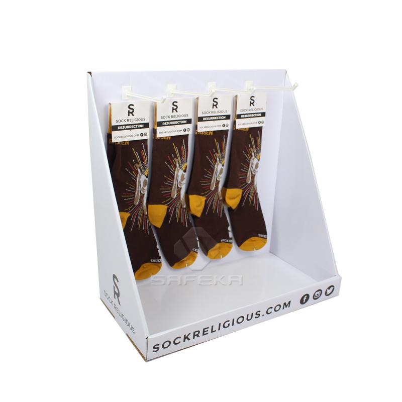 Custom Cardboard Sock Display Stands with Hooks SC1910