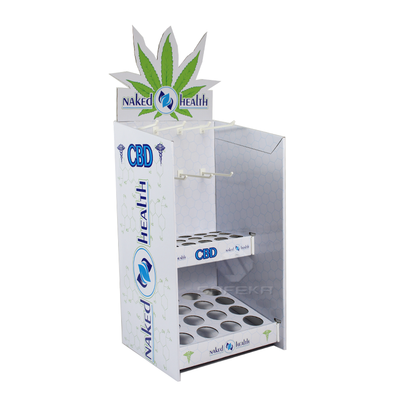 Multifunctional Creative Cardboard CBD Health Product Display Stands with Peg Hooks SC1915