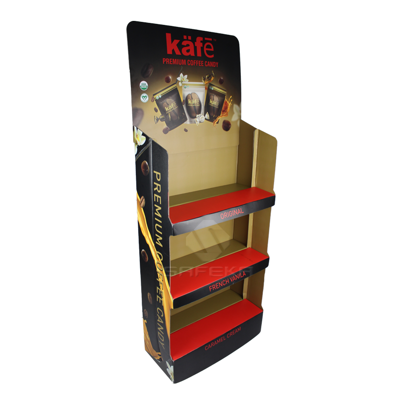 Innovative Pop up Corrugated Floor Displays Cardboard Shipper Display for Coffee SF1923
