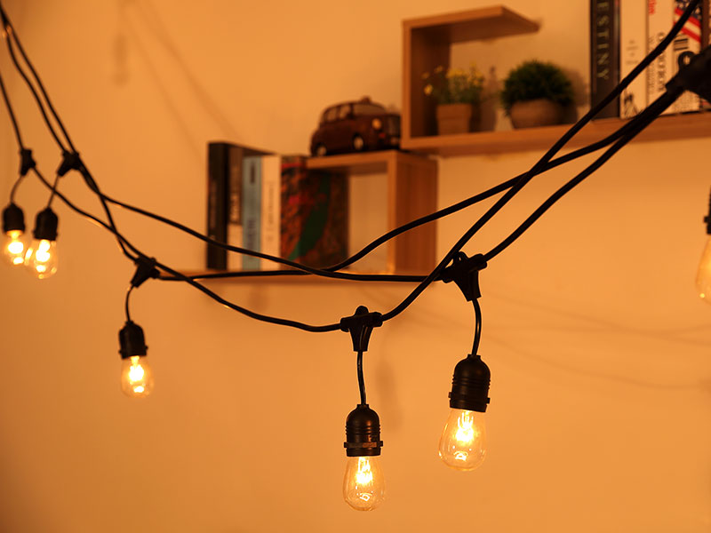 Festoon String Light 48ft Hanging Sockets 110V US Plug festival Garden Outdoor Light